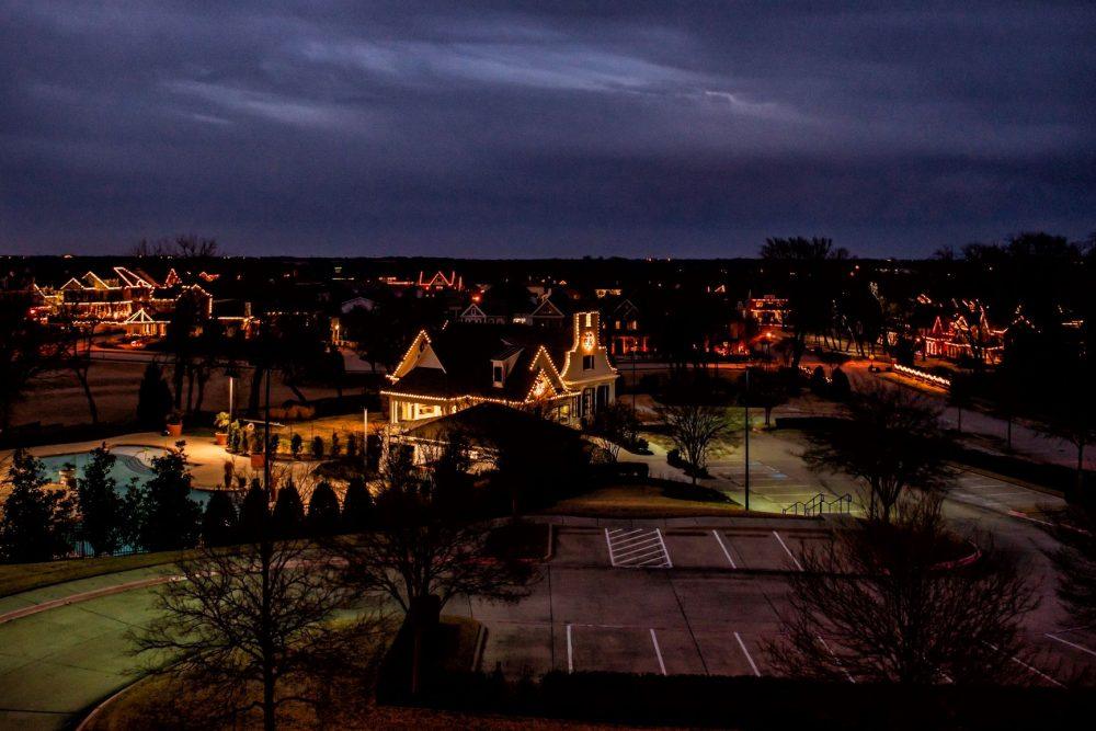 aerial view of Tucker Hill holiday lights